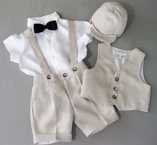044926a42 Boys Taupe Linen Short Set with Suspenders - Vada Creations